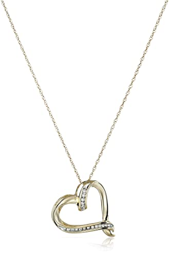 Amazon 10k yellow gold diamond accent heart pendant necklace 10k yellow gold diamond accent heart pendant necklace 18quot aloadofball