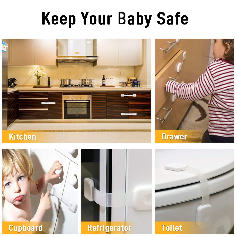 6 St/ück HWeggo Kindersicherung,Verstellbare Kindersicherheits-Schl/össer schranksicherung baby ohne bohren f/ür k/üche Schr/änke,Schubladen und t/üren Kindersicherung