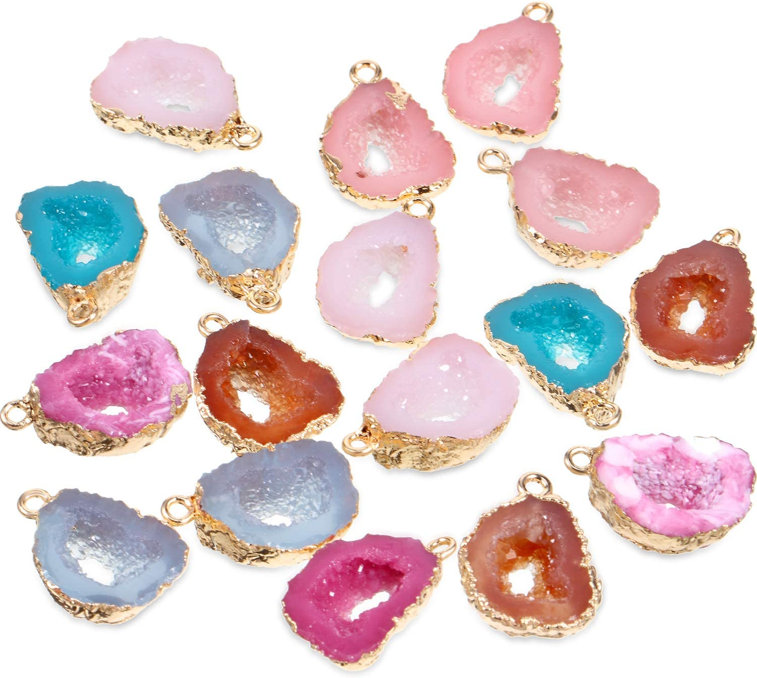 Wire Wrapped Oval Glitter Resin Necklace Multiple Colors Available Color Plated Iron Chain