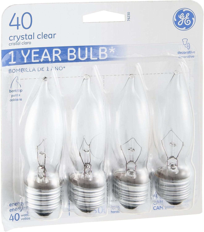 Bent-Tip - Quantity 4 Clear 40-Watt 4-Pk G E Lighting 76230 Candelabra Light Bulb