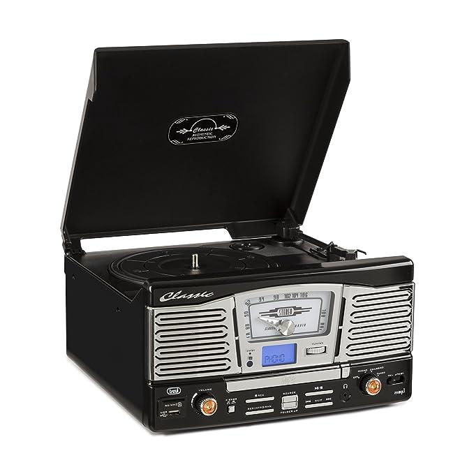 Trevi TT 1065 Tocadiscos estéreo con altavoces (USB, SD, MP3, CD ...