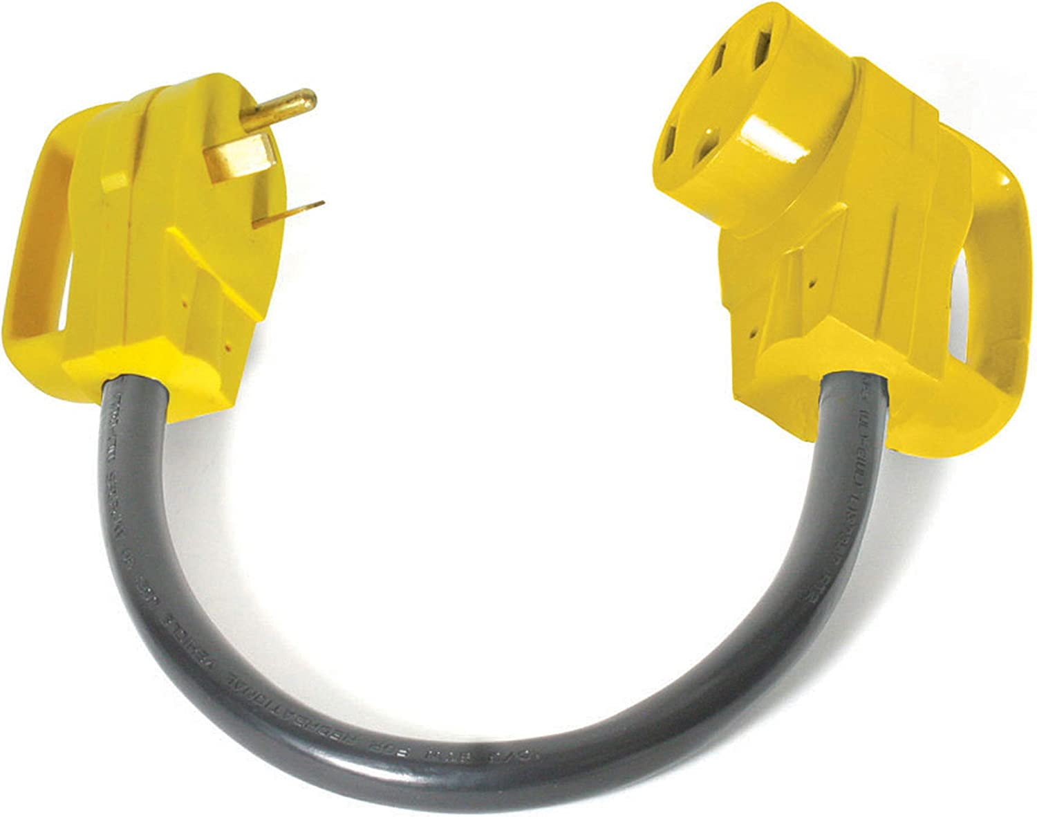 """Camco RV Dogbone Electrical Adapter With Easy PowerGrip Handle, 30 Amp Male to 50 Amp Female, 18"""" (3750W/125V) (55185): Automotive"""
