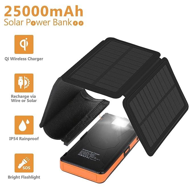 Amazon com: AMAES Detachable Solar Charger 25000mAh,7W