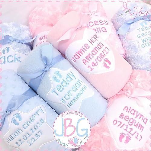 Luxury personalised baby blanket pink or blue blanket baby gift luxury personalised baby blanket pink or blue blanket baby gift christeningbaby negle Choice Image