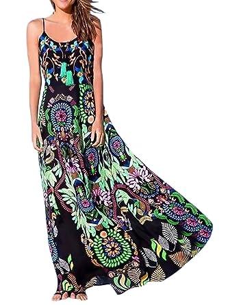 Vestidos Largos De Verano Mujer Moda Vintage Flores Estampado Vestido Basic Ropa Boho Elegantes Sin Mangas Tirantes Espalda Descubierta Casual Suelta ...