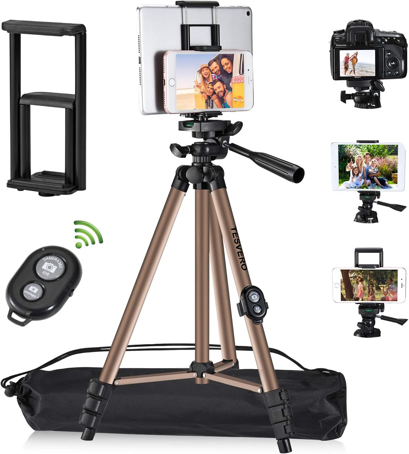 Tripod for iPad iPhone Camera Tablet ,TESVERO 50-inch Aluminum Alloy Tripod + Wireless Remote + 2 in 1 Mount Holder for Smartphone (Width 2.2-3.3