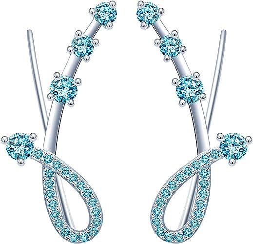 Pendientes de niña de plata de ley 925, clip de oreja de meteorito de diamante, pendientes de enredadera, elegante, regalo para aniversario