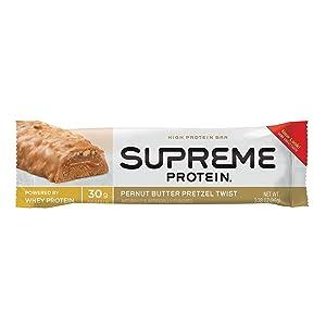 Supreme Protein Bar, Peanut Butter PretzelTwist, 30g Protein, 3.38 Ounce Bars