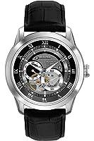 Bulova Men's Designer Automatic Self Winding Watch Leather Strap - Black Dial 96A135
