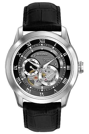 Bulova Automatic 96A135 - Reloj Automático de Diseño para Hombre - Correa de Cuero - Esfera Negra: Amazon.es: Relojes