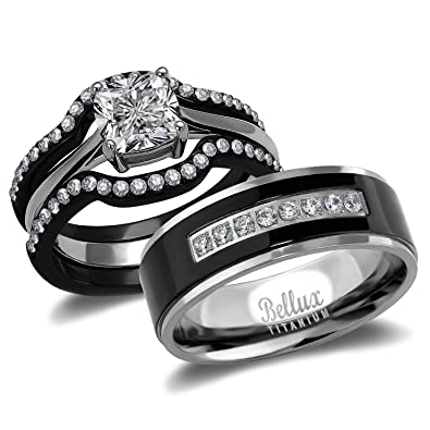 Amazon.com: His and Hers Wedding Ring Sets Couples Matching Rings ...