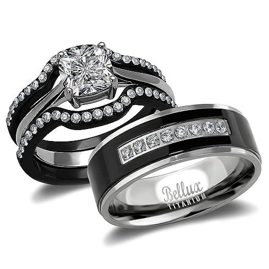 his and hers wedding ring sets couples matching rings womenu0027s steel wedding rings u0026 menu0027s