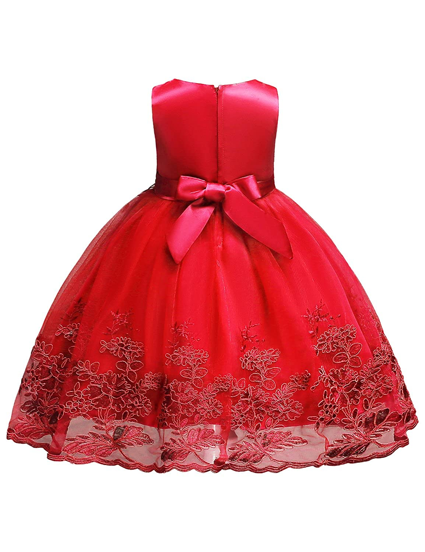 8e8f868be74b3 Blevonh Red Dresses for Girls Girl's Knee-Length 50's Floral High Waist  Summer School Party Dresses Lace Wedding Dresses for Kids 3D Flower Big Red  Size ...