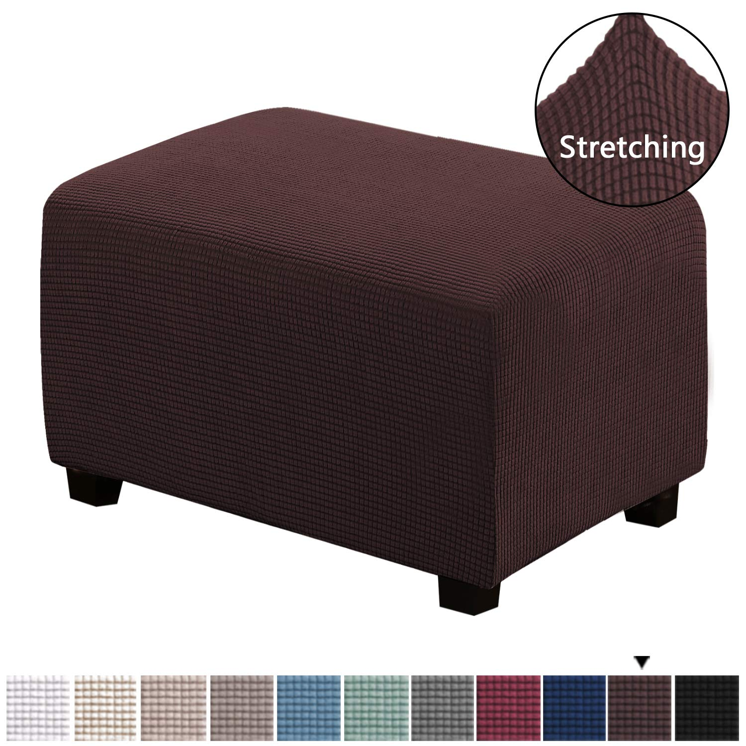 """Stretch Soft Rectangle Slipcover with Elastic Bottom Spandex Ottoman Slipcover Folding Storage Stool Furniture Protector for Ottoman 25""""-30"""" Length and 21""""-25"""" Width, Large Size, Chocolate"""
