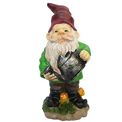 Mountain Gnomes 9.5 inch Green Garden Gnome with Water Can : Garden & Outdoor