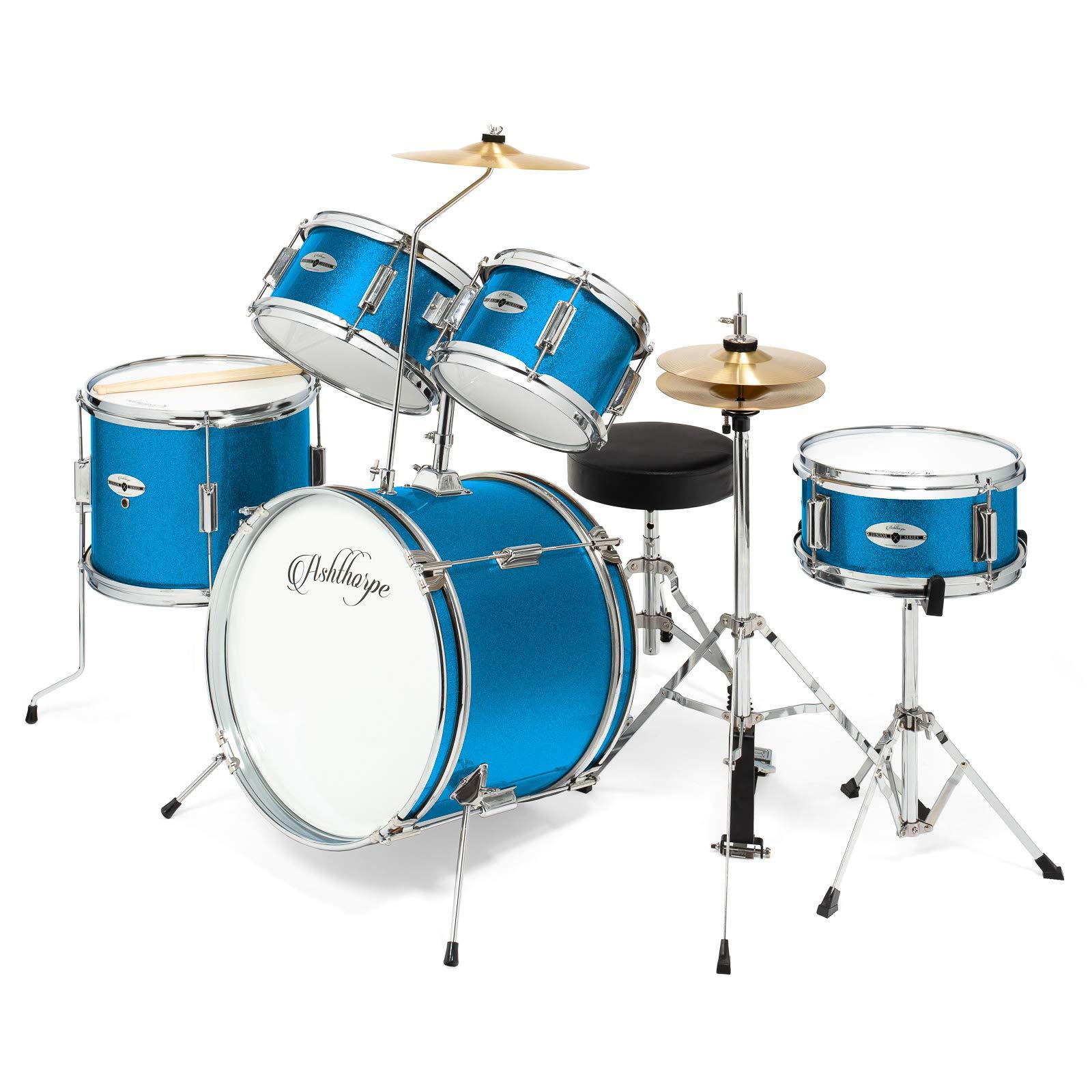 Ashthorpe 5-Piece Complete Kid's Junior Drum Set with Genuine Brass Cymbals - Children's Advanced Beginner Kit with 16'' Bass, Adjustable Throne, Cymbals, Hi-Hats, Pedals & Drumsticks - Blue
