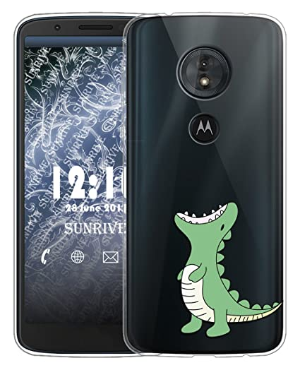 Sunrive Funda para Moto g6 Play, Silicona Slim Fit Gel Transparente Carcasa Case Bumper de Impactos y Anti-Arañazos Espalda Cover(TPU Dinosaurio)