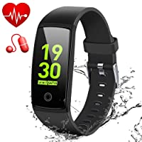 """MSDJK IP67 Waterproof Fitness Tracker, 0.96"""" HD Color Screen Activity Tracker with Heart Rate&Blood Pressure Monitor, Wearable Smart Bracelet Pedometer Watch with Sleep Monitor(black)"""