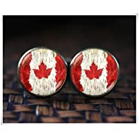 No See Long time Canada Flag Cufflinks, Flag Cufflinks, Maple Leaf Flag Cufflinks, Dome Glass Jewelry, Pure Handmade