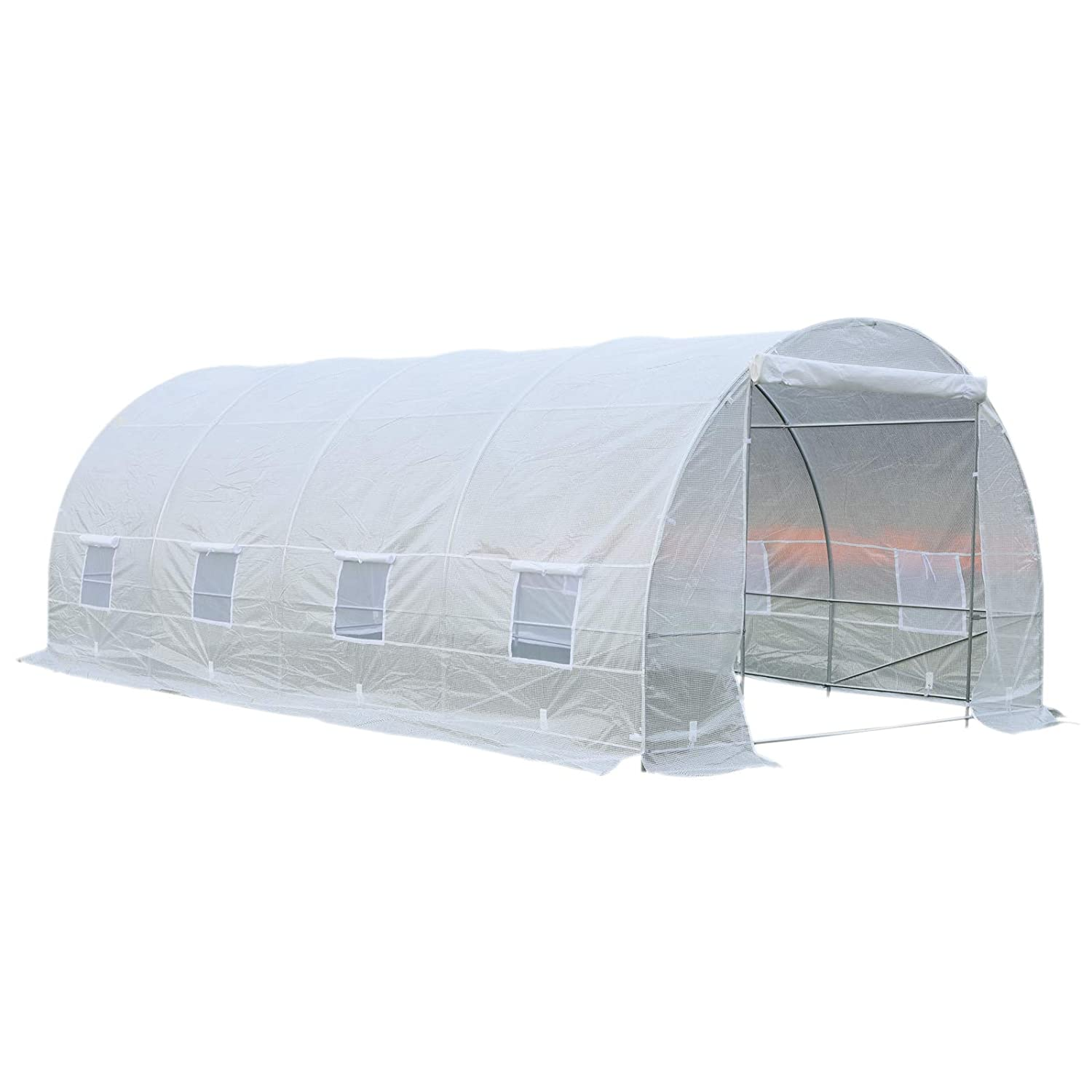 White Outsunny 20/' x 10/' x 7/' Freestanding High Tunnel Walk-in Garden Greenhouse Kit