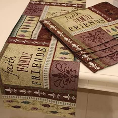 Queenie®   Set Of 1 Tapestry Table Runner And 4 Placemats (Faith Family U0026