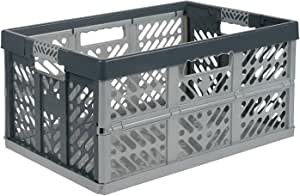 Pack de 5 x 45 litros Extra fuerte plegable cajas de almacenamiento de plástico apilables Cajas – 45 kg capacidad de carga por caja – suave asas – gran valor: Amazon.es: Bricolaje y herramientas