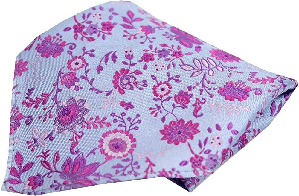Blue//Purple Posh and Dandy Mens Floral Luxury Silk Pocket Square