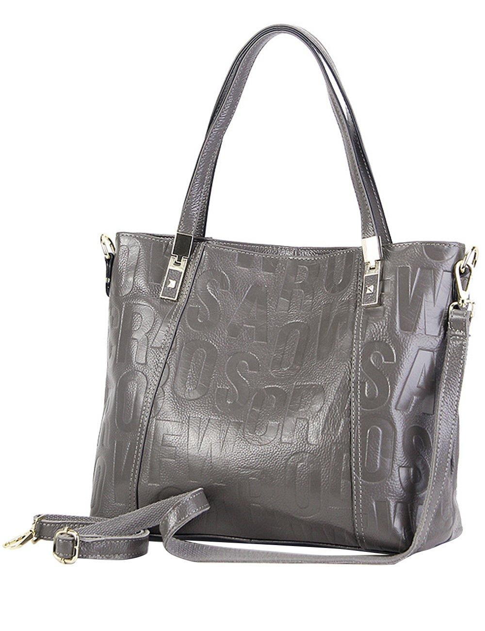 Menschwear Womens Genuine Leather Top Handle Satchel Bag Grey by Menschwear (Image #5)