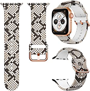 Magwei Sport Band Compatible with Apple Watch Bands 38mm 40mm 42mm 44mm,Soft Silicone Fadeless Pattern Printed Replacement Band Compatible for Apple Watch Series 6/5/4/3/2/1 (Snakeskin, 42mm/44mm)