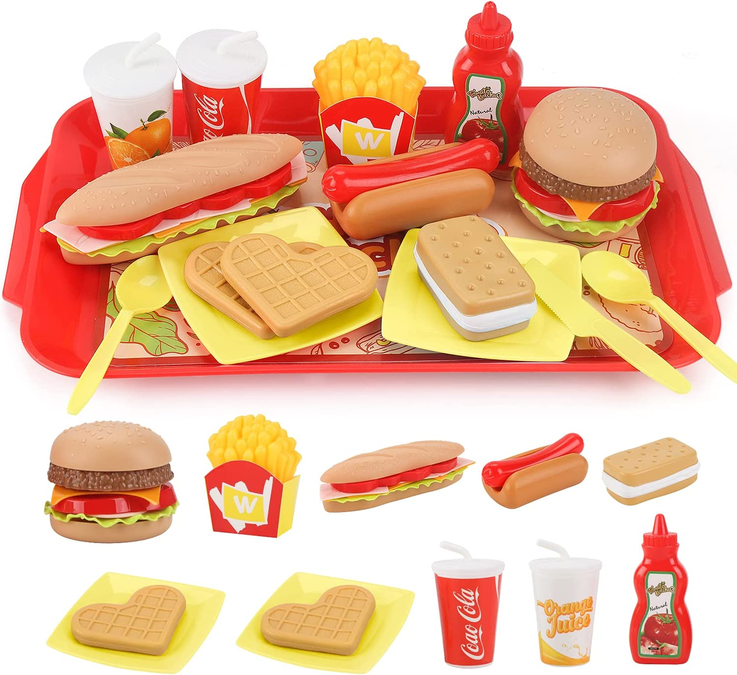 Sotodik Pretend Play Food Set for Children,Removable Fast Food Playset with Tray Hamburger Hotdog Fries Combo,Play Kitchen Accessories Role Play Toys,Educational Gift for Kids Boys Girls (15 Pcs)