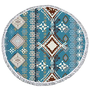Norbia Mandala - Toalla de playa gruesa y redonda, diseño bohemio, toalla de playa de microfibra, para playa, yoga, círculos, 59 pulgadas: Amazon.es: Hogar