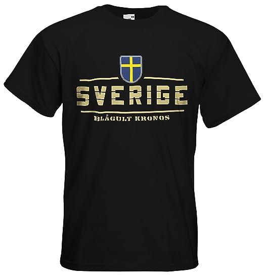 Schweden Sverige Fanshirt T-Shirt Länder-Shirt im modernen Look: Amazon.de:  Bekleidung