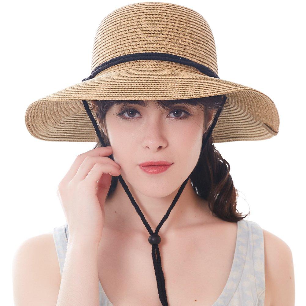 Women's Wide Brim Sun Beach Hat Braided Bucket with Wind Lanyard UPF 50+ (Khaki, Large Size (Head Size 23.22''))