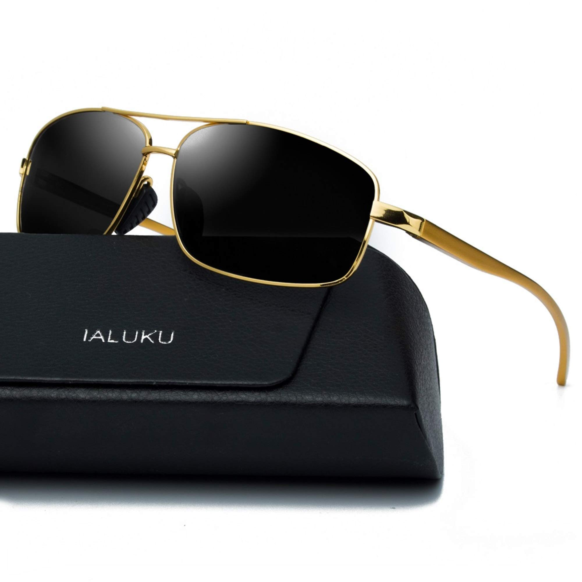 IALUKU Rectangular Polarized Sunglasses for Men Square Retro Aviator Sunglasses (Gold / Grey, 60)