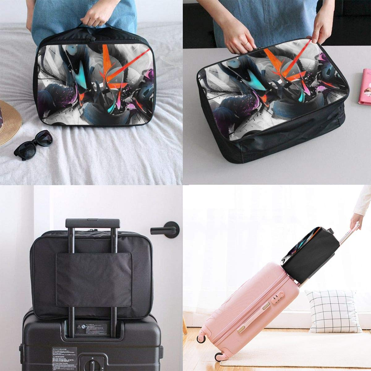 Travel Luggage Duffle Bag Lightweight Portable Handbag Abstract Cool Psychedelic Pattern Large Capacity Waterproof Foldable Storage Tote