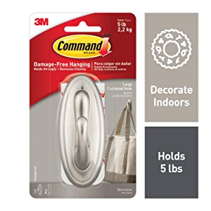 Command Traditional Plastic Hook, Large, Brushed Nickel, 1-Hook (17053BN-ES)