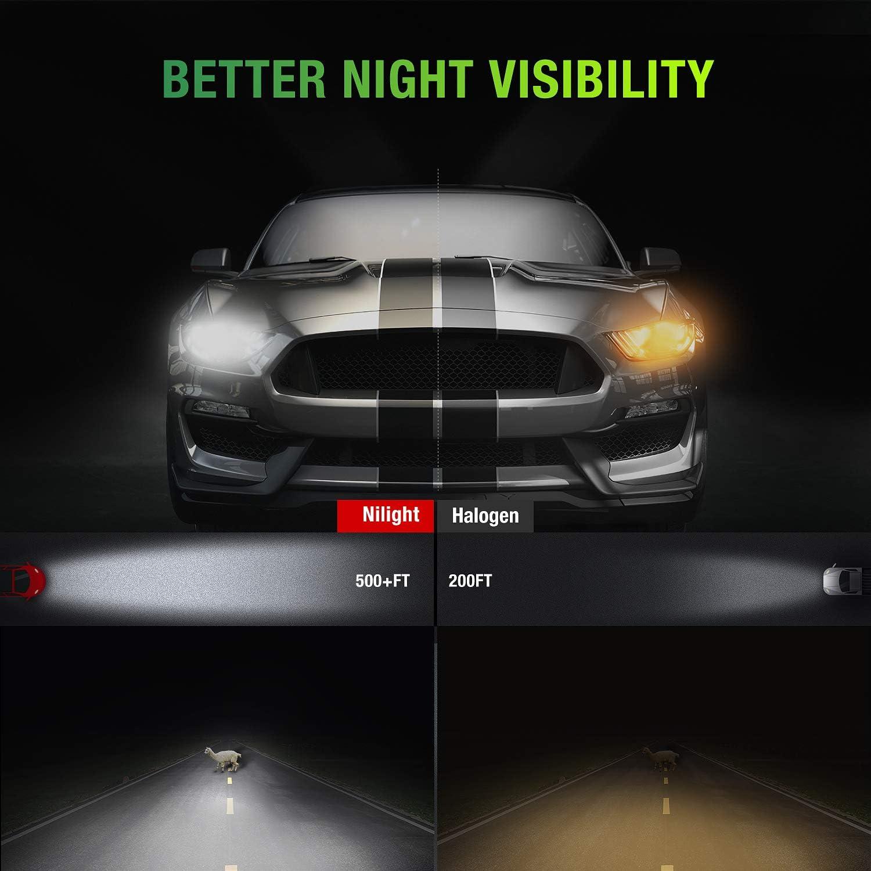 Nilight 9006//HB4 LED Headlight Bulbs Pack of 2 60W 10000LM 6000K Cool White CSP Low Beam//Fog Light LED Headlight Conversion Kit Bulbs