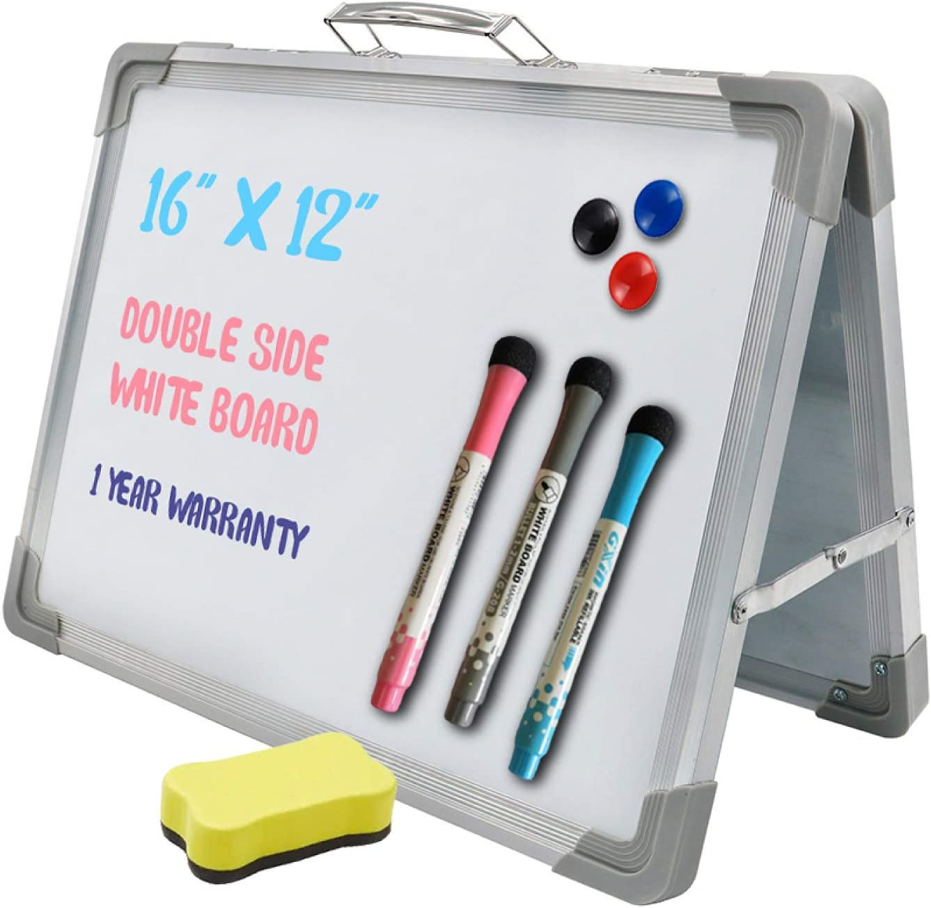 Small Dry Eraser White Board - 16 x 12 inches,Magnetic Doubleside Desktop Foldable Whiteboard Easel. Includes 3 Magnets, 3 Markers and Eraser by BestCircle