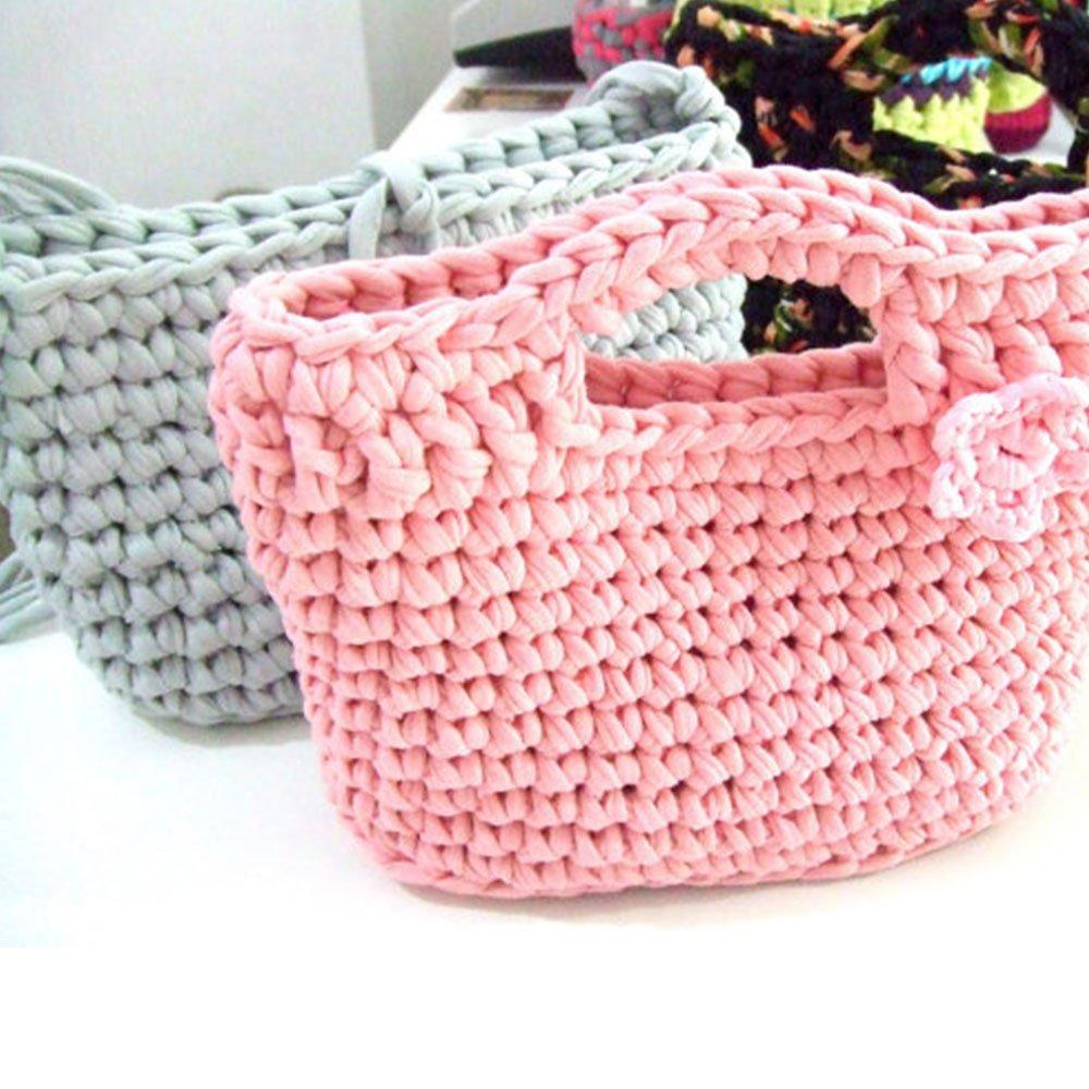 Charmkey Pappardelle Lot de 6 /écheveaux de fil /à tricoter//crocheter de t-shirt 100//% polyester /épais et doux 40/g Fandango Pink
