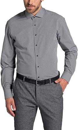 Eterna - Camisa Formal - Cuadros - Cuello Italiano - Manga Larga - para Hombre Negro 44: Amazon.es: Ropa y accesorios