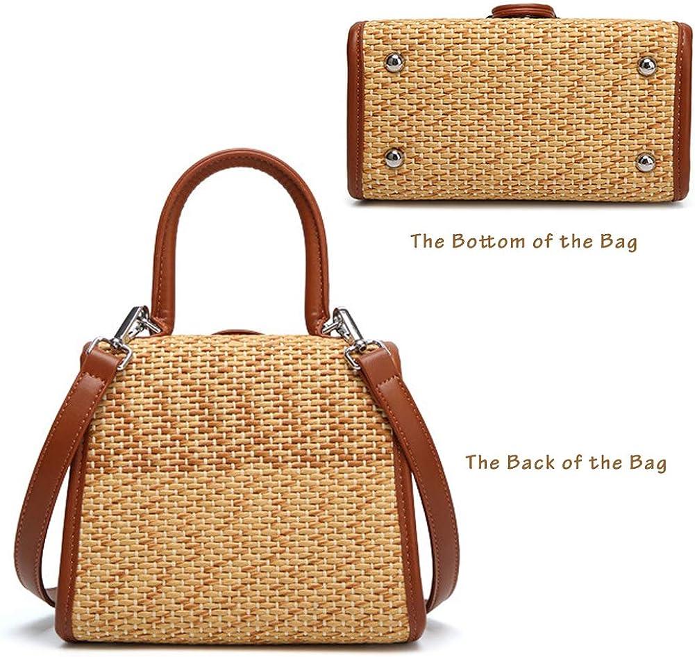 Boshiho Retro Straw Woven Handbag Womens Small Cross Body Bag Shoulder Messenger Satchel