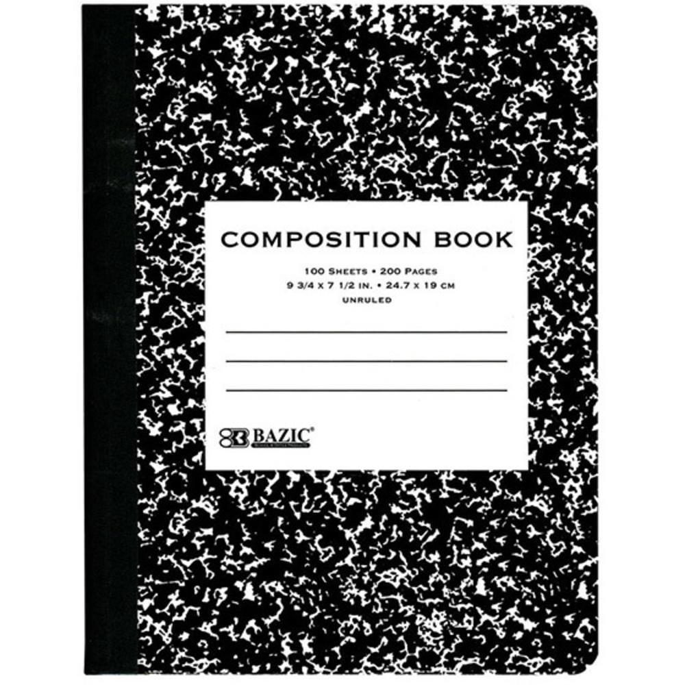 Bazic Products 5051-48 BAZIC UNRULED 100 Ct. Black Marble Composition Book Case of 48 by BAZIC