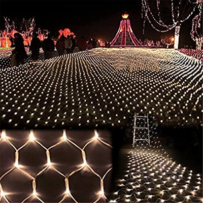 DOCHEER LED Net Mesh String Fairy Light Warm White, 9.8ft x 6.6ft 204 LEDs 8 Modes, LED Indoor Outdoor String Lights Waterproof Wedding Party Garden Room Christmas Holiday Decorative Light: Home & Kitchen