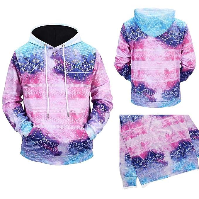 Otoño Invierno de los Hombres de Cielo Estrellado de impresión de Manga Larga Sweatershirt Blusa Superior