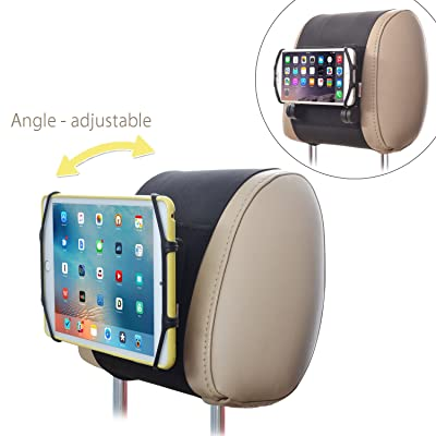 Car Headrest Mount Holder TFY Angle Adjustable Car Headrest Mount Holder with Silicon Holding Net for Phones and Tablets: Home Audio & Theater