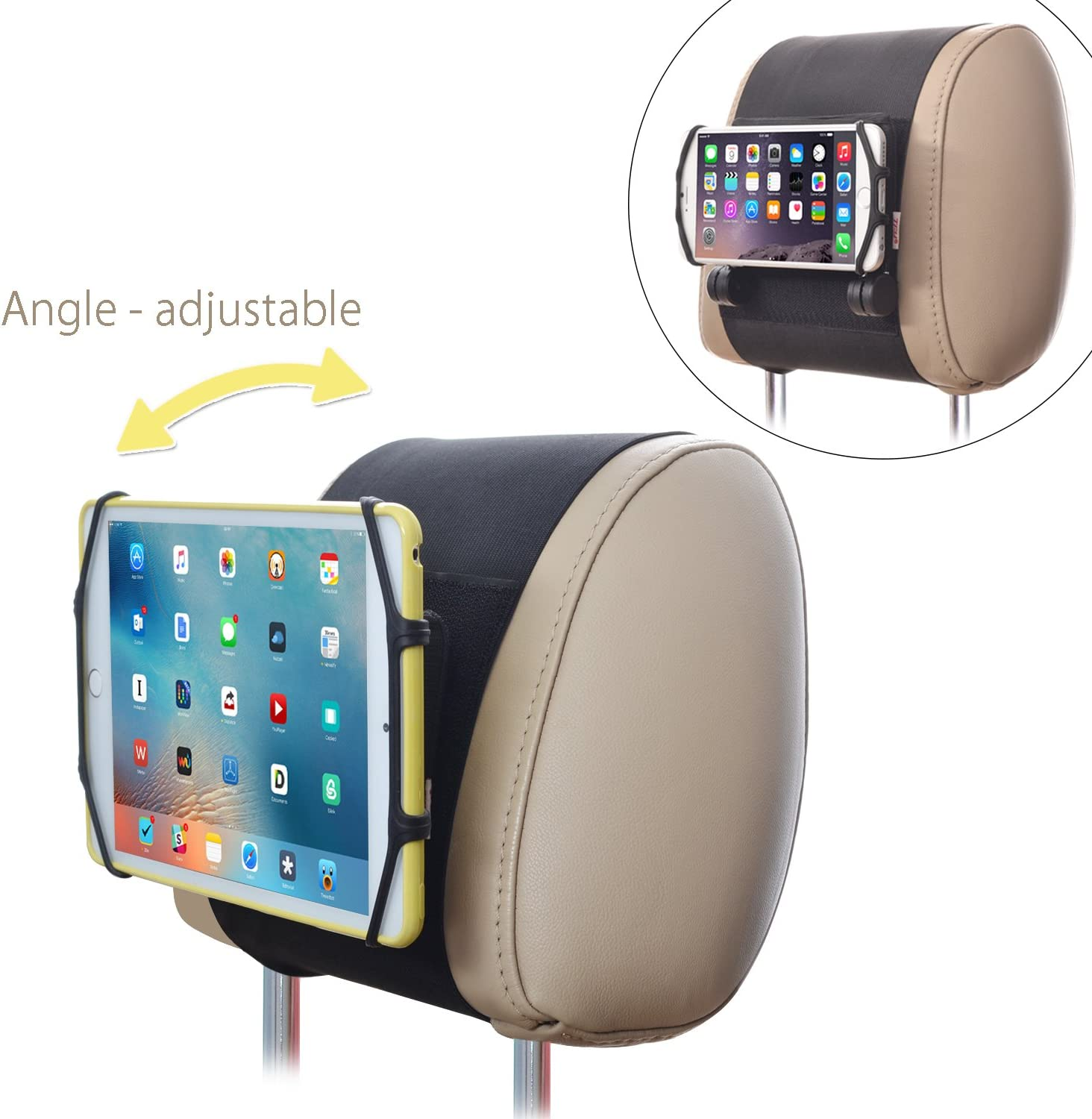 Car Mount TFY Universal Car Headrest Mount Holder with Silicon Holding Net Compatible with Both 4.5-6 Inch Phones and 7-10.5 Inch Tablets