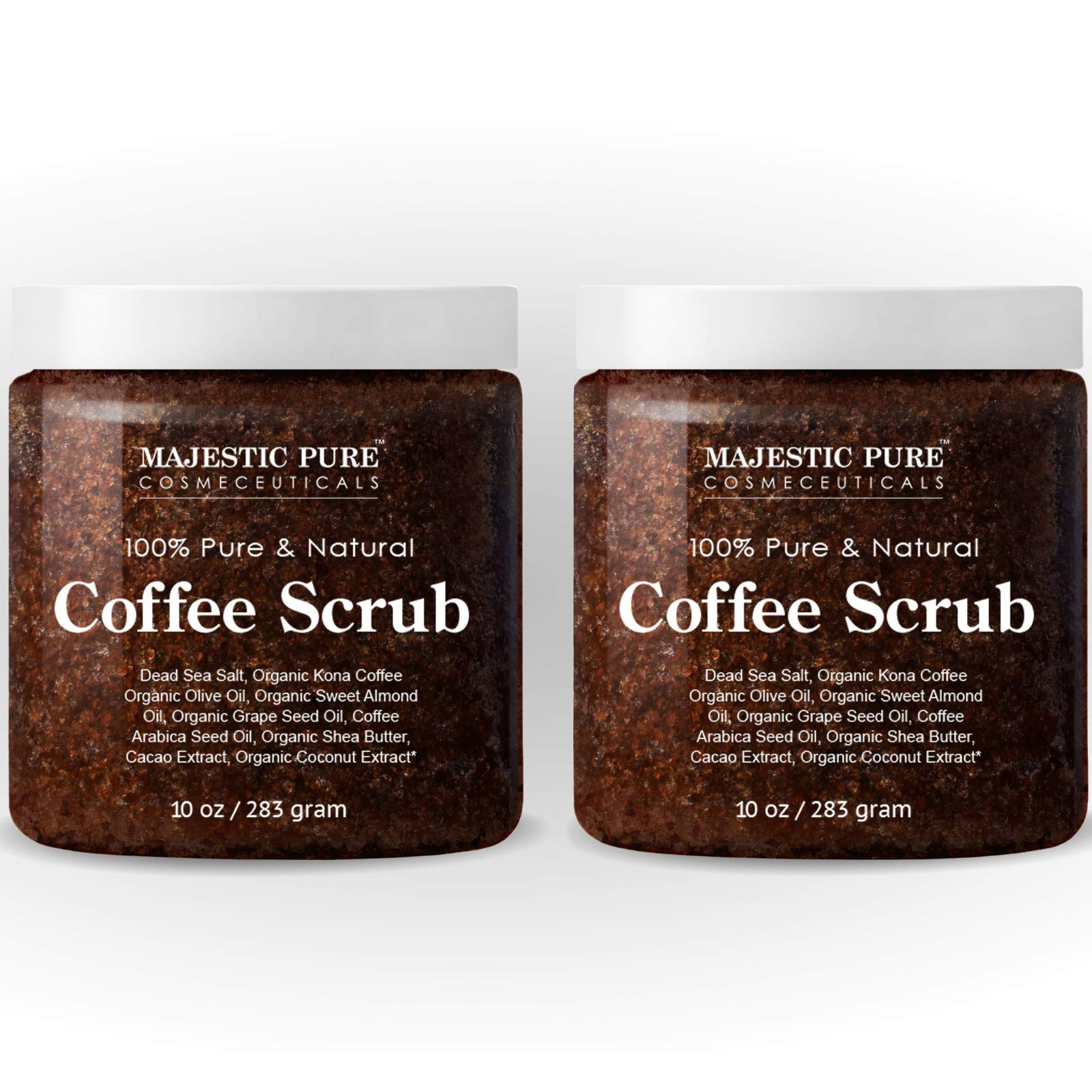 Majestic Pure Arabica Coffee Scrub - All Natural Body Scrub for Skin Care, Stretch Marks, Acne & Cellulite, Reduce the Look of Spider Veins, Eczema, Age Spots & Varicose Veins, Set Of 2