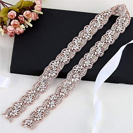 1 yard Rose Gold Rhinestone Wedding Dress Applique for Bridal Ribbon Belt  Iron on Jeweled Crystal 076e3f077657