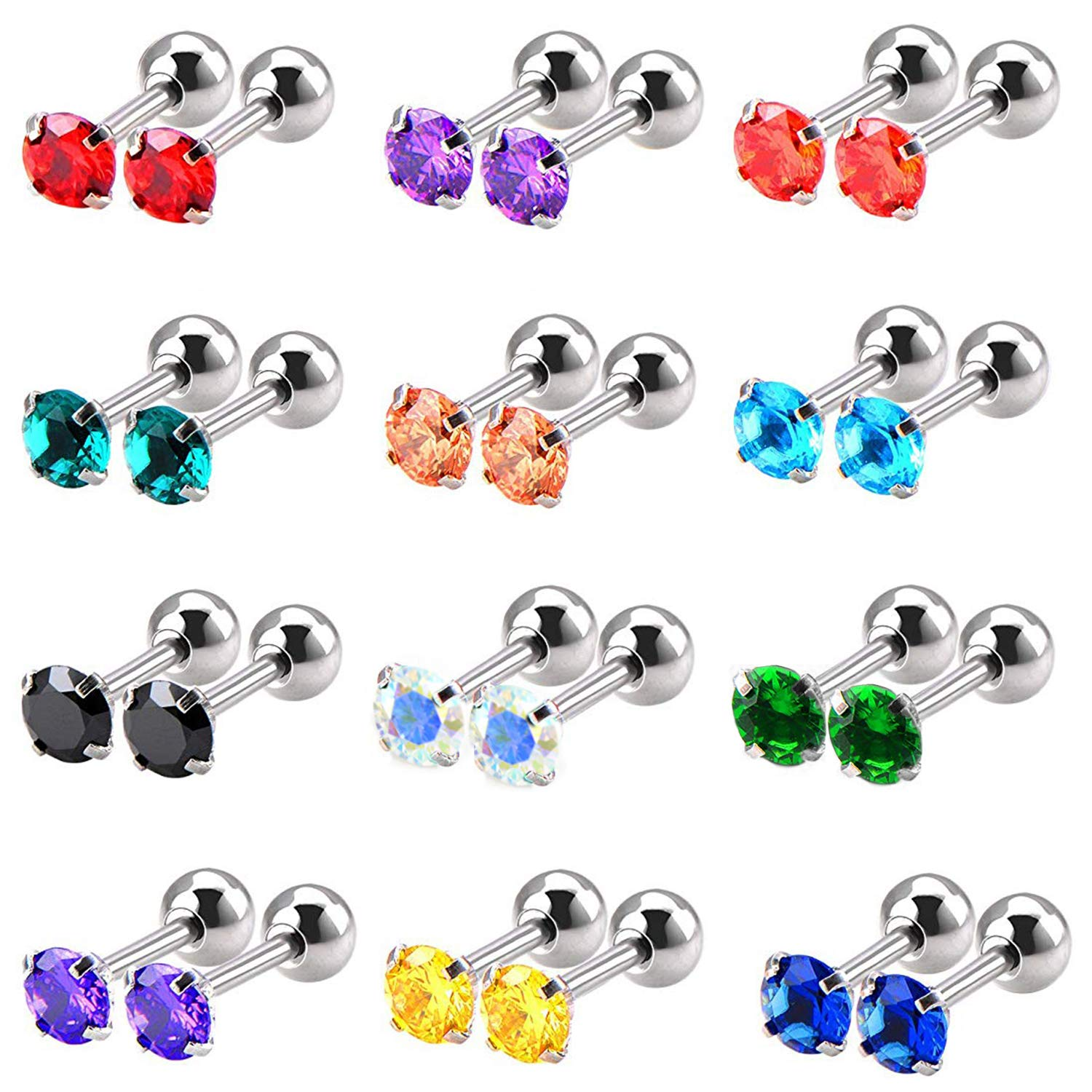 YEELONG 12 Pairs 16G CZ Stainless Steel Barbell Stud Earrings for Men Women Cartilage Helix Earring Body Piercing Jewelry,12 Colors by YEELONG