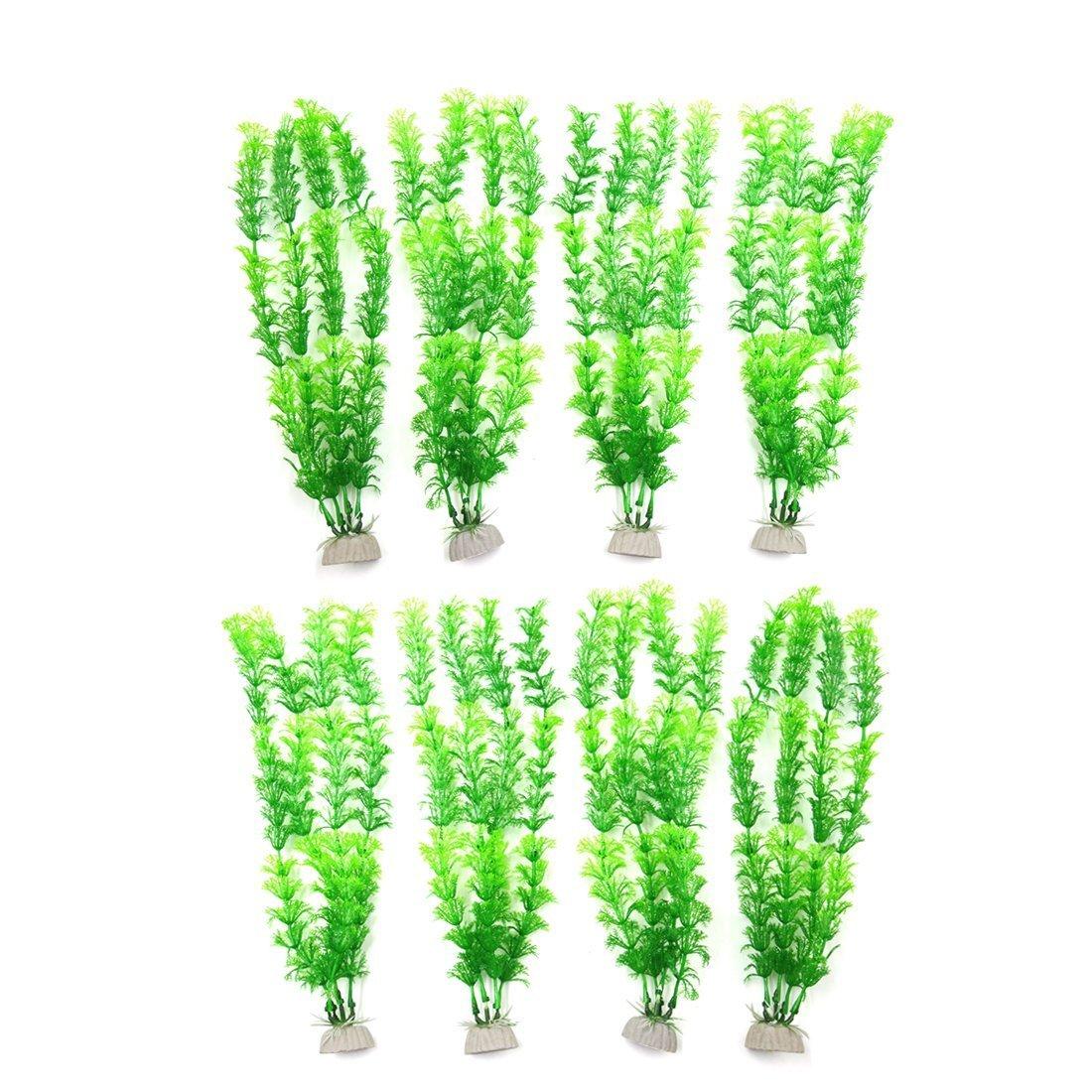 Ceramic Base Plastic Aquarium Manmade Water Plant Grass Decor 2pcs